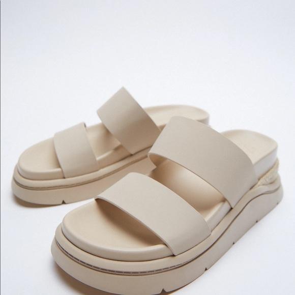 Zara Rubberized Flat Sporty Sandals